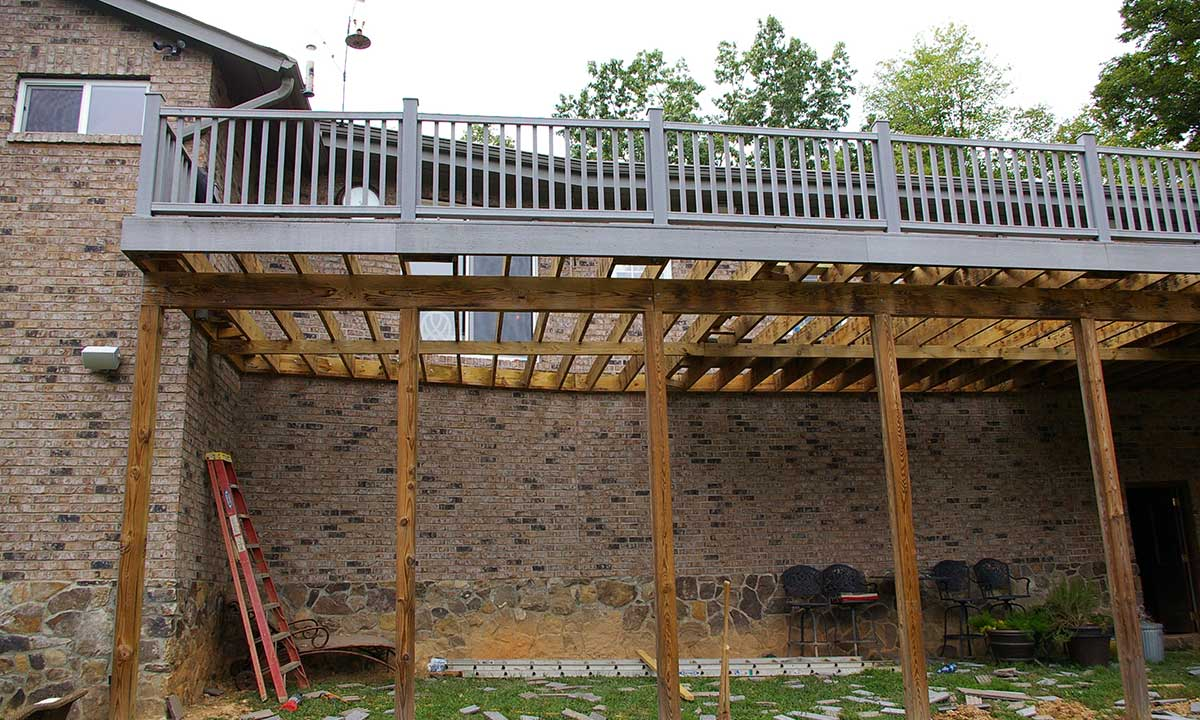 Repairing the deck's framing after discovering moisture