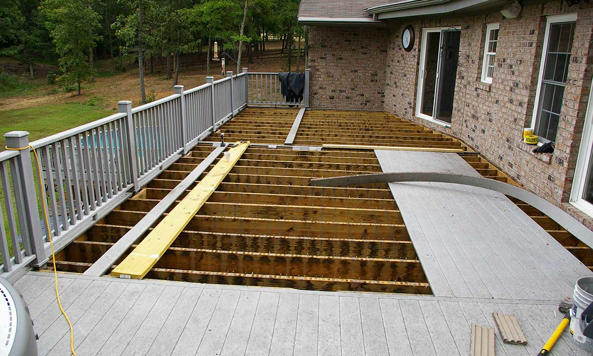Deck framing during construction