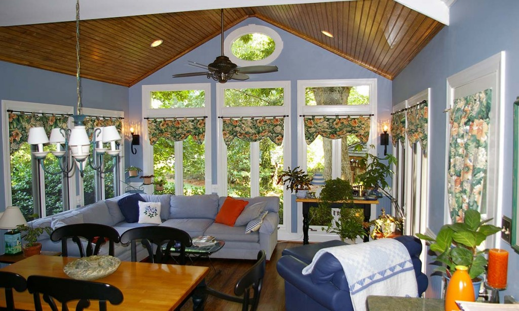 Picture of a sunroom addition and renovation in Charlotte, NC done by Palmer Custom Builders