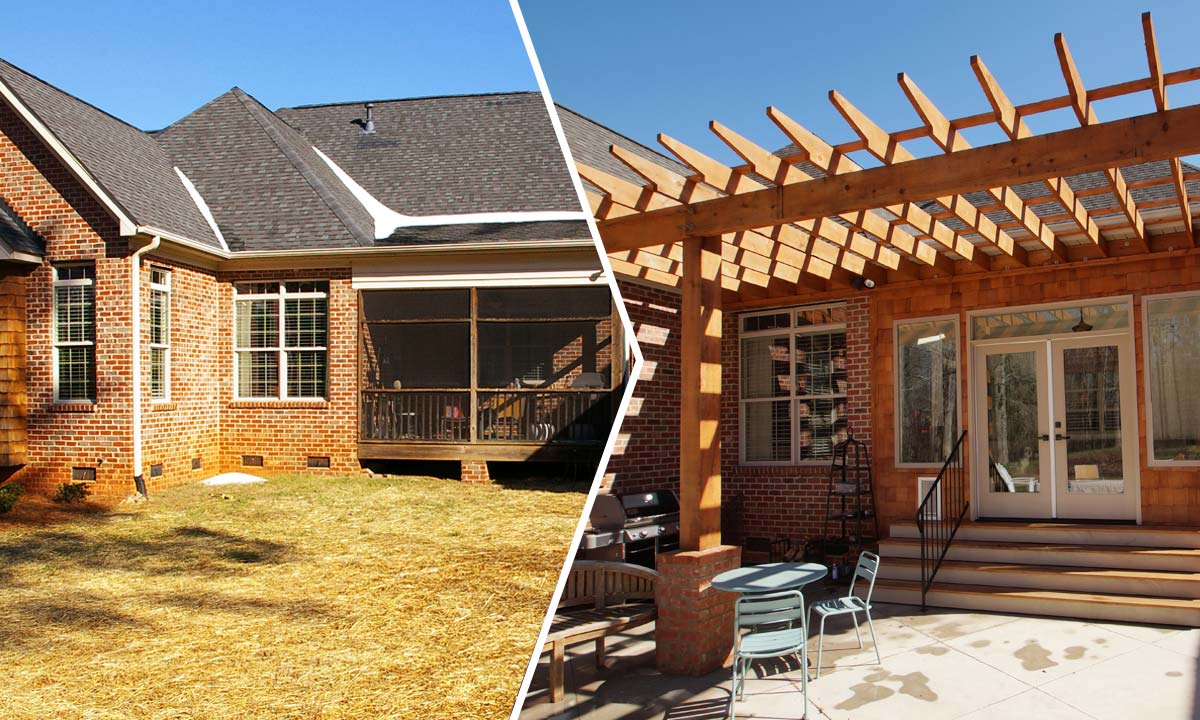 Before and after pergola addition