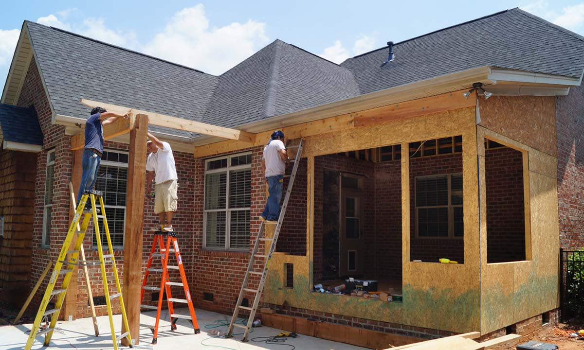 During construction of sunroom addition