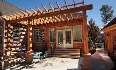 Sunroom addition, pergola and patio on Lake Wylie