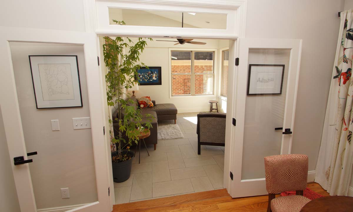 Inside view of sunroom after the addition