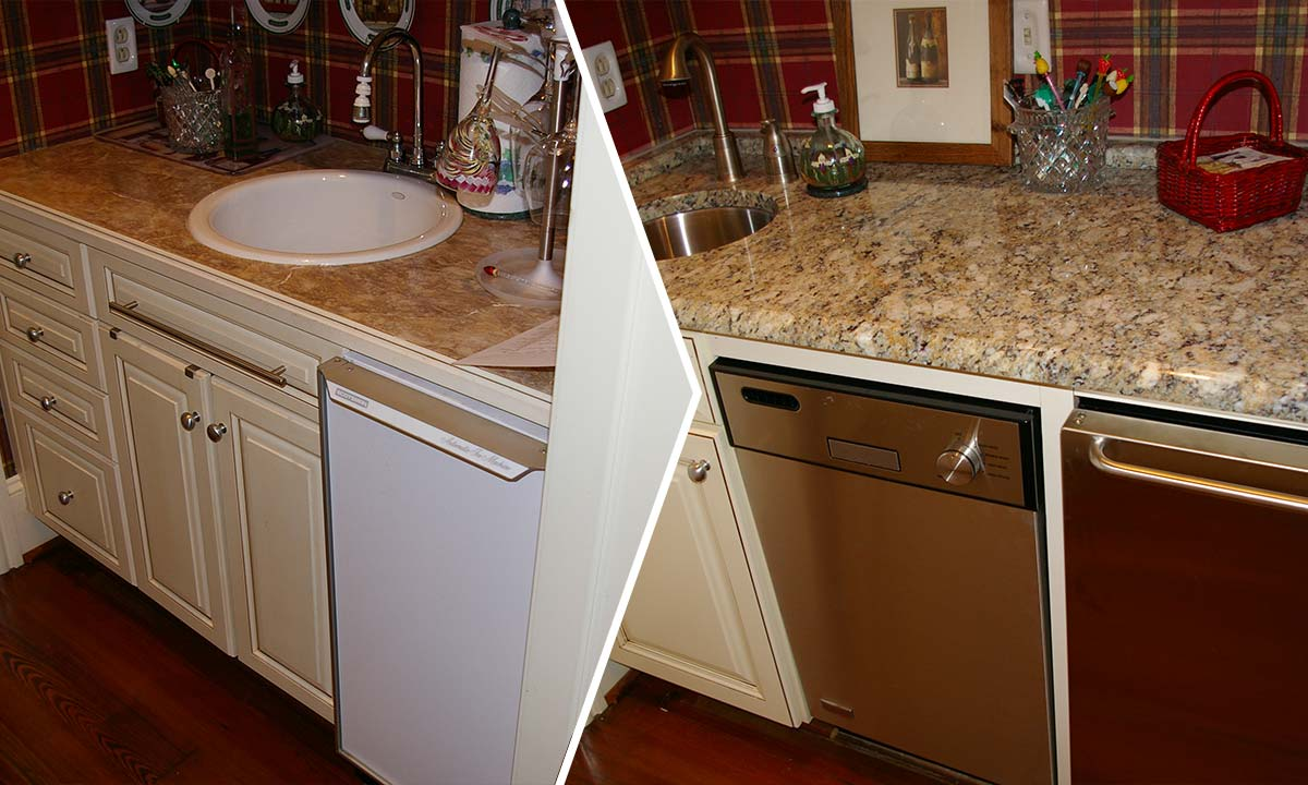 Wet bar renovation and update before and after