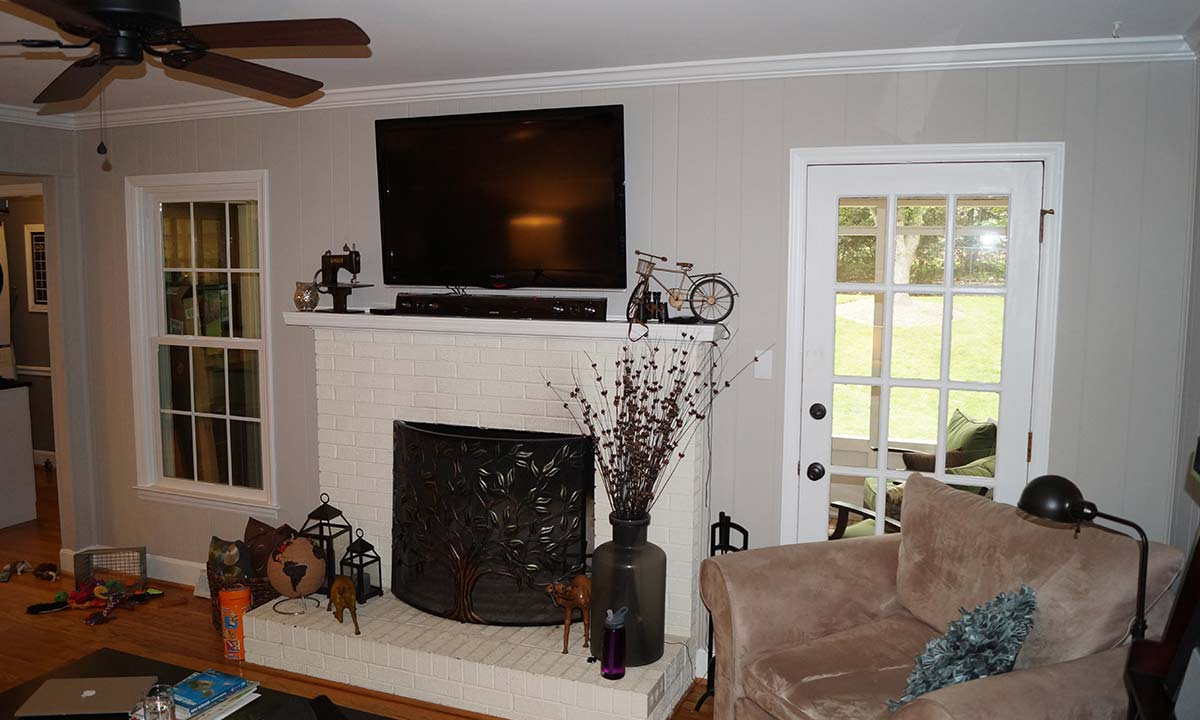 Remodeled living room and fireplace