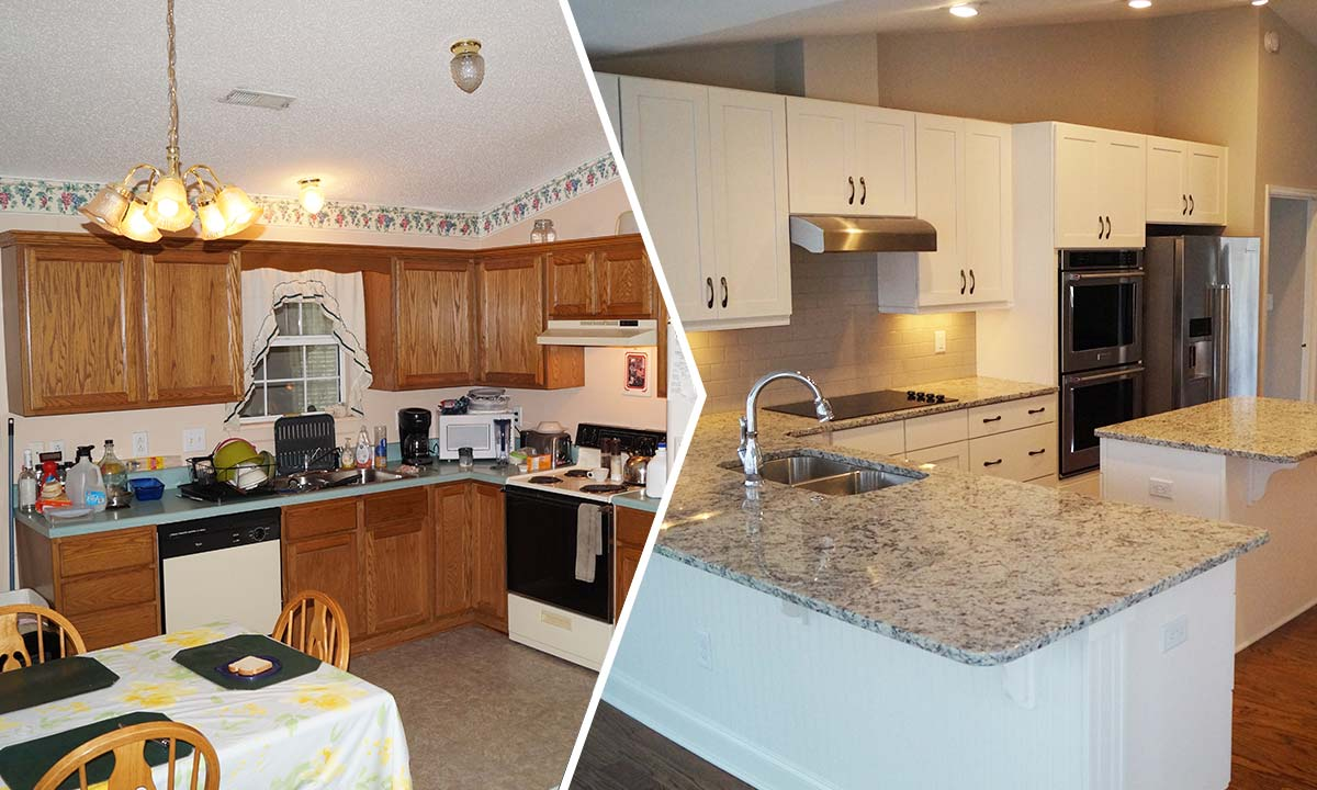 Whole home remodeling project – before and after pictures of the kitchen in Waxhaw, NC