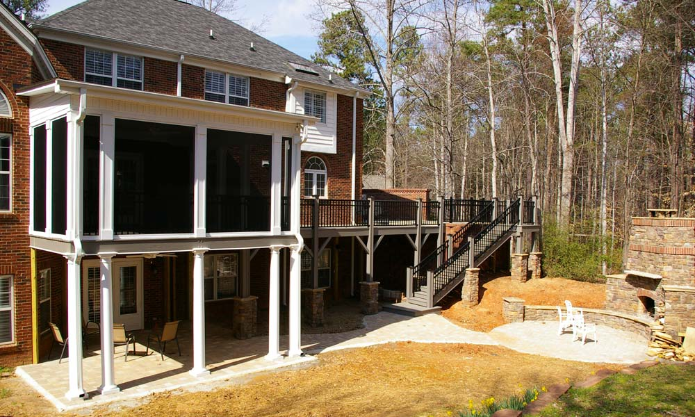 Picture of a large porch addition and deck addition to a home in the Charlotte, NC area