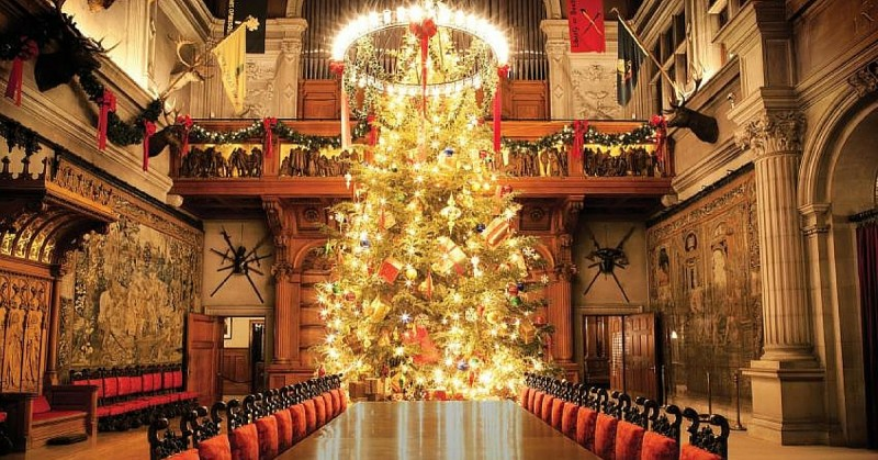 The Biltmore mansion with Christmas decorations after an interior renovation