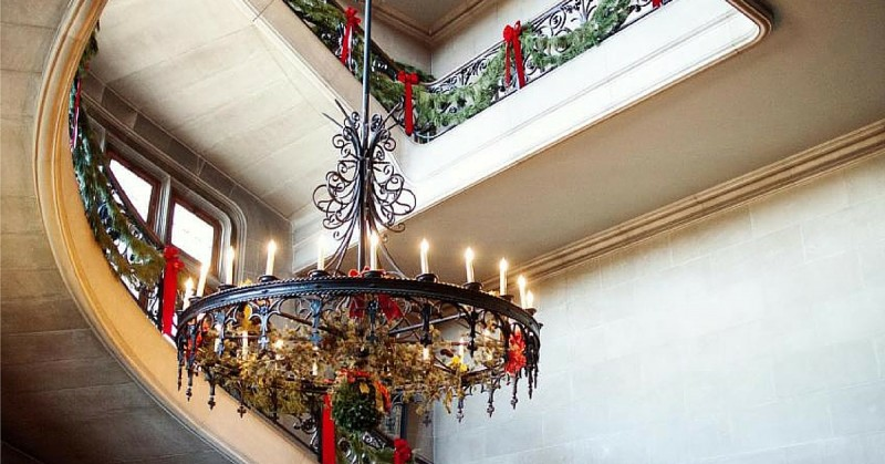 Holiday decorations and minor renovations to the grand staircase inside the Biltmore mansion