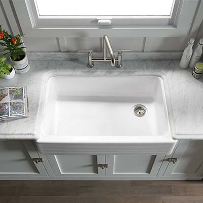 Top view of a Hayridge design on Whitehaven kitchen sink with a Purist kitchen faucet.