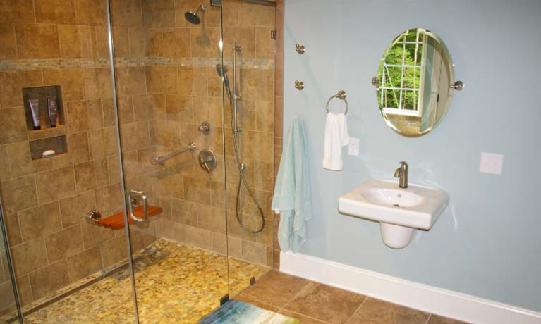 Bathroom renovation with aging in place modifications