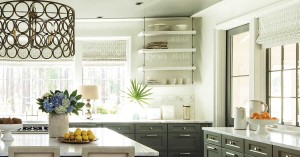 Wellborn Cabinetry and open kitchen shelves