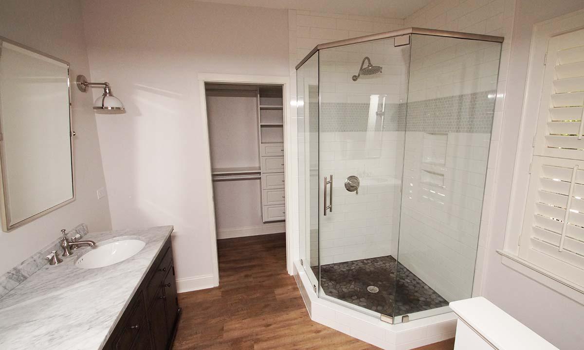 New master bathroom, shower, closet & laundry