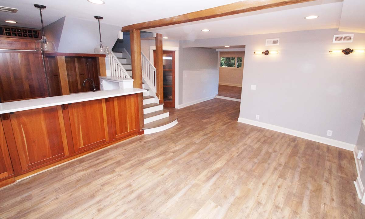 Newly remodeled kitchen, hallway and living room