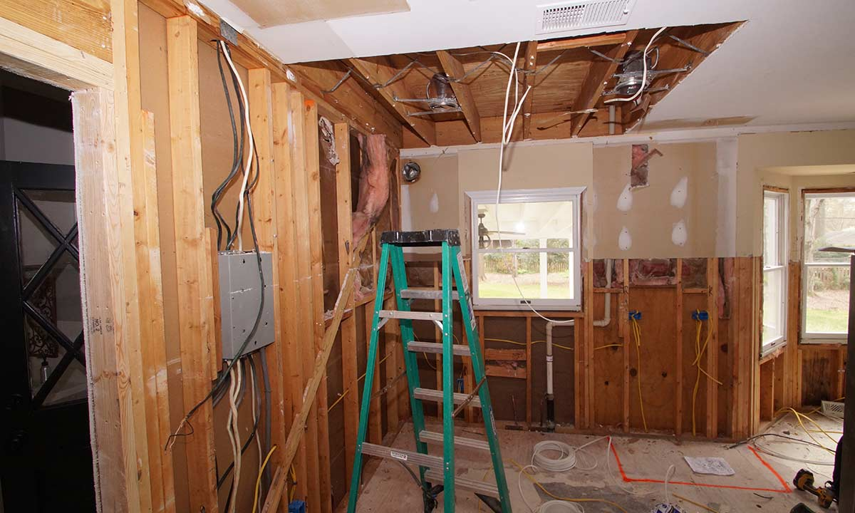 beginning stages of kitchen remodel - wires dangling