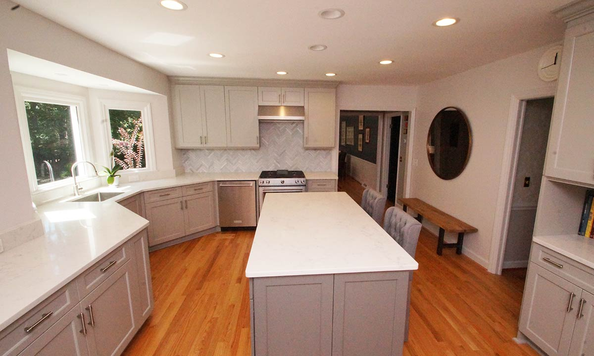 kitchen remodel with island in center