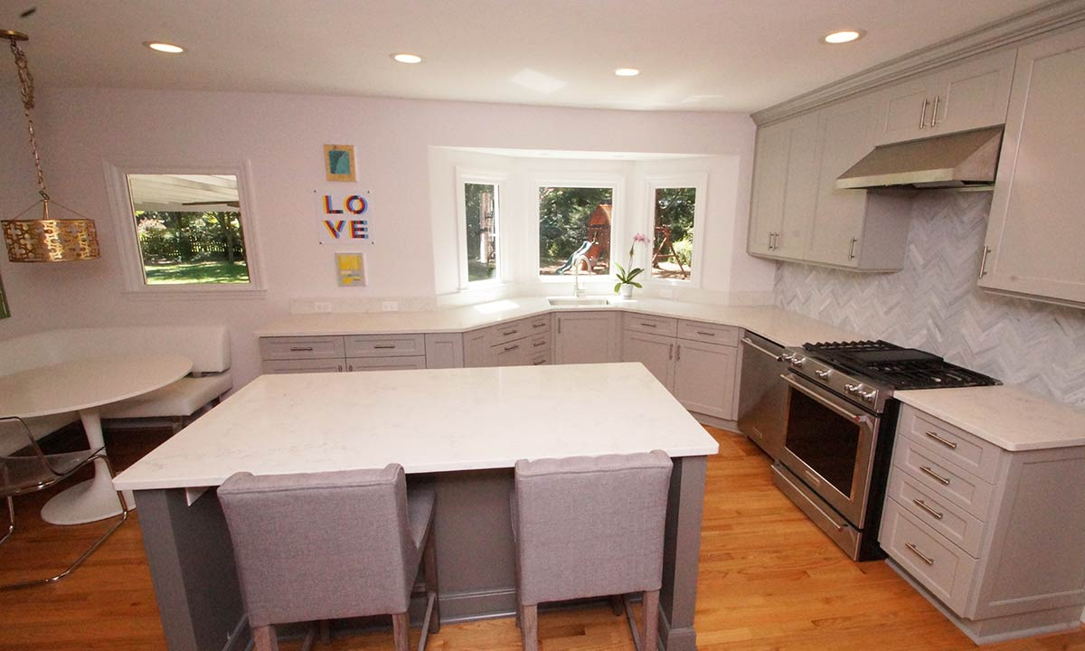 kitchen remodel with kitchen island and gray cabinets