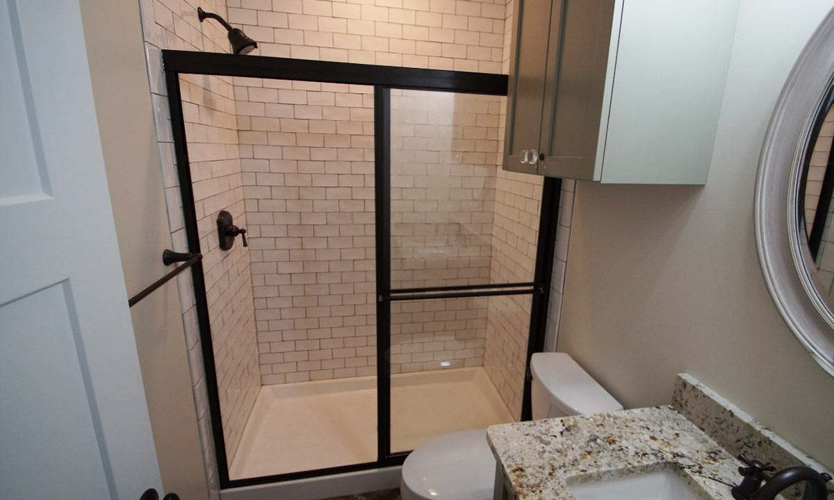 bathroom remodel with kitchen shower subway tiles
