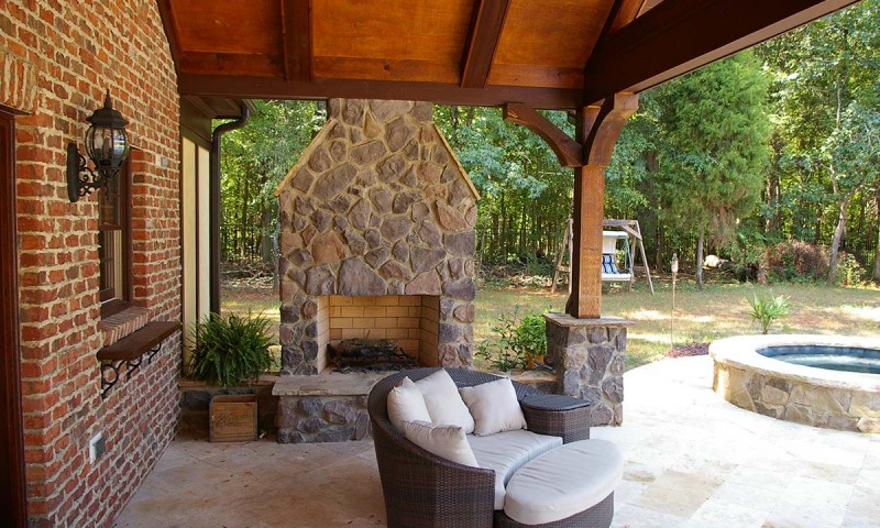 outdoor covered fireplace renovated outdoor living space