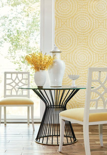yellow patterned wallpaper