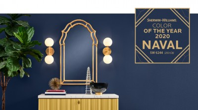 navy wall will sign of Sherwin Williams color of the year