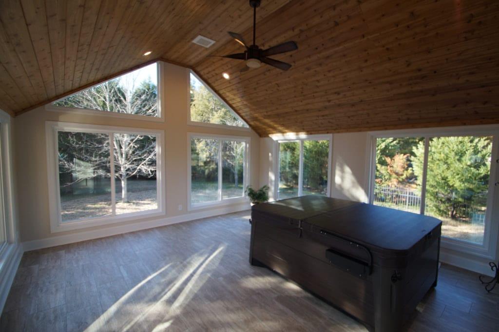 Home addition accommodates hot tub sunroom