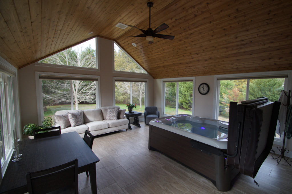 Home addition accommodates hot tub sunroom