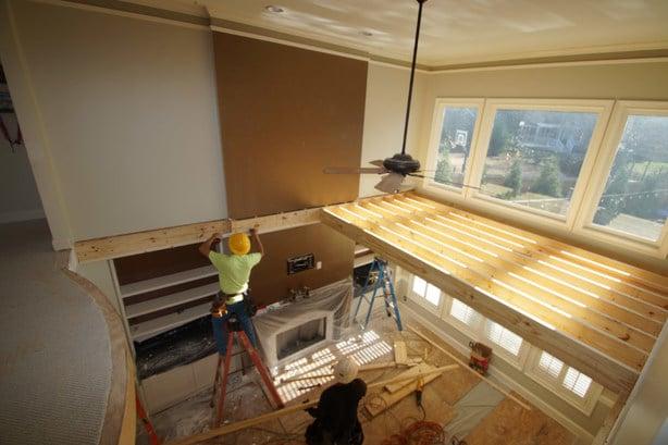 in progress living room floor over