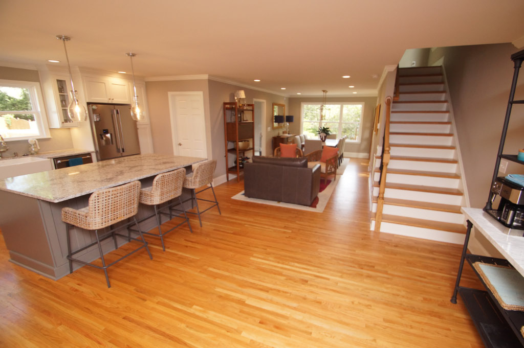 after photo of completed home addition of open space kitchen
