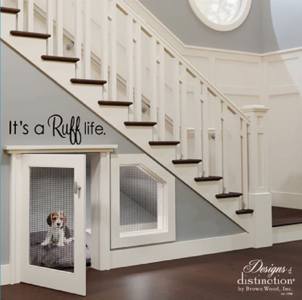 under stair dog room with grille door